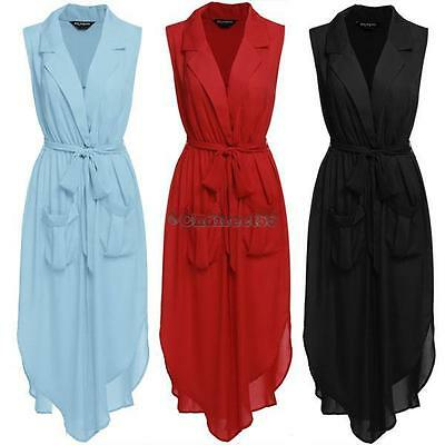 Zeagoo Fashion Women Sleeveless Slit Chiffon Maxi Shirt Dress With Belt C5