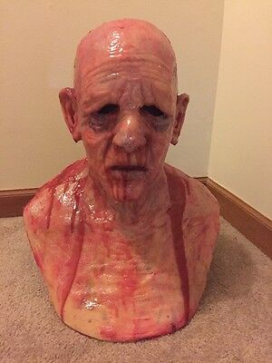 Scary realistic halloween Silicone Mask old man zombie prop like SPFX CFX