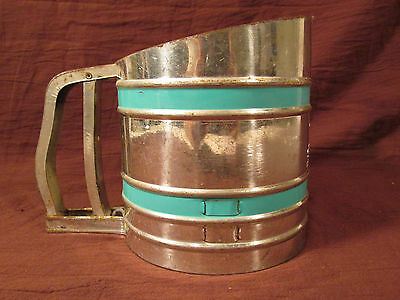 Vintage 1940's 50's Country Kitchen Foley Sift Chine Triple Screen Hand Sifter