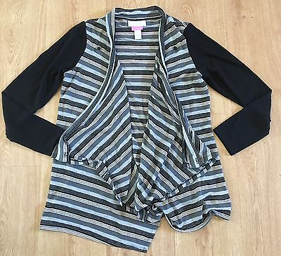 Jessica Simpson Maternity Open Cardigan Breastfeeding Flaps Striped Sz M