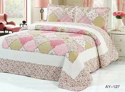 100% Cotton Luxury  Quilted Bedspread Coverlet Queen Size 3pcs Set Ay127