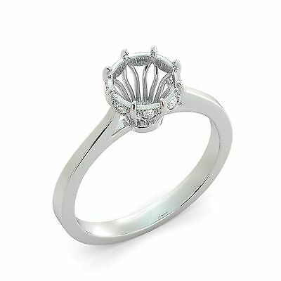 Cathedral Solitaire Semi Mount Round Cut Diamond Engagement Ring 18k White Gold