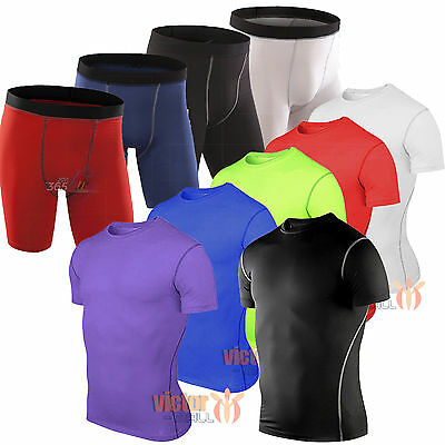 Mens Compression Shirt Athletic Under Baselayer Armour Running Fitness Shorts
