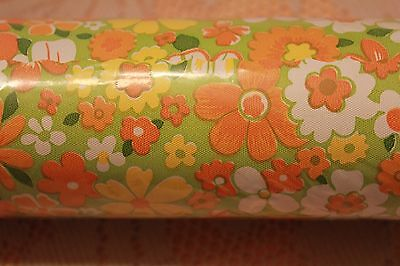Vintage 70s Mod Flower Power Green Orange Yellow Daisy Vinyl Shelf Paper Craft