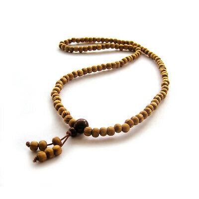 Tibet Buddhist Pine Wood 108 Prayer Beads Mala Necklace