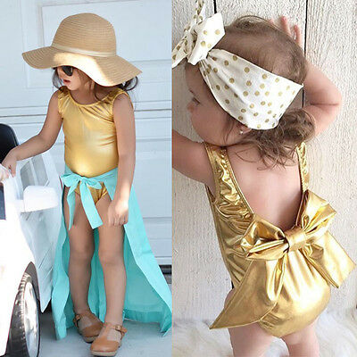Cute Newborn Infant Baby Girls Back Bowknot Romper Jumpsuit Summer Clothes 0-24M