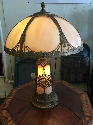 Antique Slag Glass Lighted Base Table Lamp Hubbell Sockets