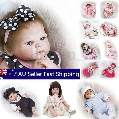 22'' Handmade Real Looking Silicone Lifelike Reborn Baby Dolls Twins Girl Boy AU