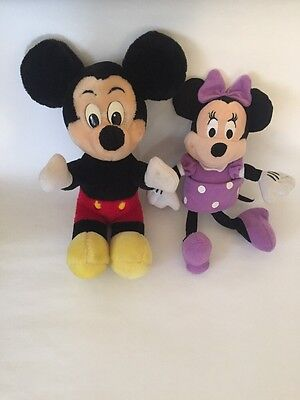 "Disney Collection Mickey Mouse 13"" And Minnie Mouse 11"" Lot 2 Tiltes Plush Toy"