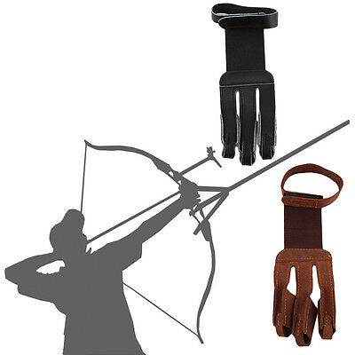 Archery Protect Glove 3 Fingers Pull Bow arrow Leather Shooting Gloves UK