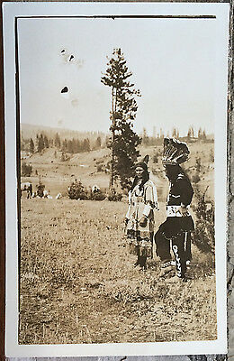 INDIAN MAN & SQUAW, HORSE Photo Post Card 1910-20 MIDWESTERN US? Native American