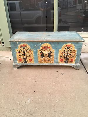 ANTIQUE 18th CENTURY AMERICAN PAINT DECORATED UNICORNS PAINTED BLANKET CHEST