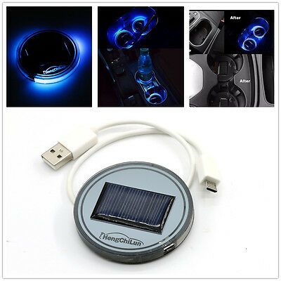 Cool Car Solar Interior Cup Holder Atmosphere Pad Bottom Cover Trim Light LampUK