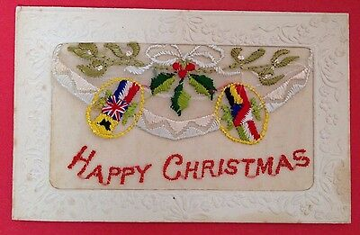 WW1 - Silk Embroidered PC, Happy Christmas Allied Flags Holly & Mistletoe Insert