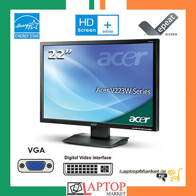 """Acer V223W 22"""" LCD WideScreen Monitor HD Display 1680 x 1050 DVI with Cables"""