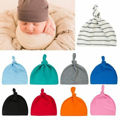 Child Boys Girls Soft Cap Cotton Beanie Newborn Baby Knotted Hat Infant Toddle