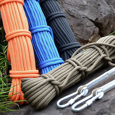 10M 7 Colors Tree Rock Climbing Rescue Auxiliary Rope Cord & 2 Carabiners Gear