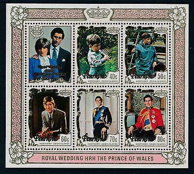 1981 Penrhyn Charles & Diana Royal Wedding Minisheet Fine Mint Mnh/muh