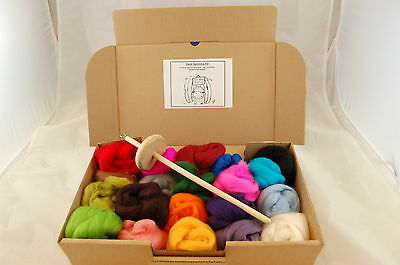 Hand spinning kit -  Handcrafted Drop Whorl Spindle + 20 Merino wool colours