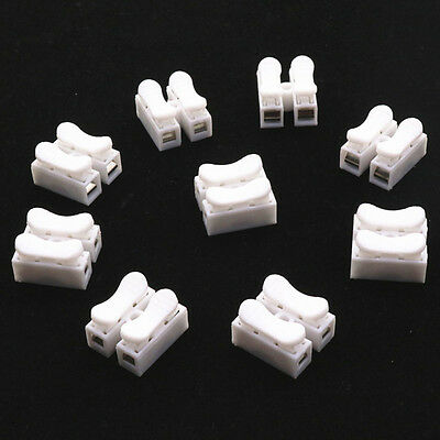 50 PCS CH2 No Solding Welding Spring Wire Connector Clamp Cable Terminal Block