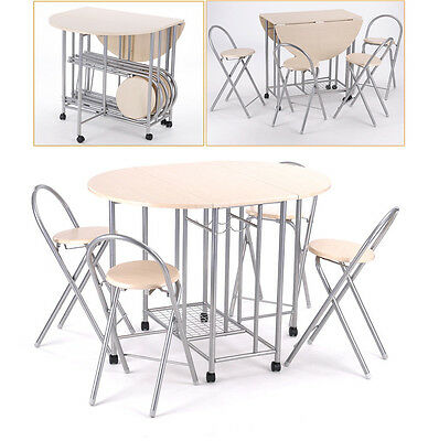 Folding  Extending Dining  Set Table and 4 Chairs Small Kitchen Space Saving