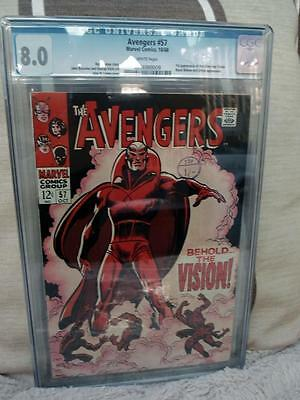 MARVEL Comics AVENGERS  #57 1968 VFN WHITE CGC 8.0 HIGH  grade 1st VISION ULTRON
