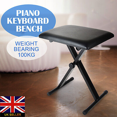 New Piano Stool Keyboard Bench Black Padded Seat Cushion Chair Adjustable Height