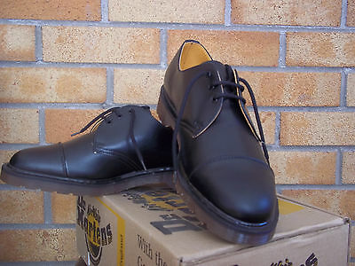 Dr Martens Black Smooth 3 Eyelet Toe Cap  Made In England  Mod  Ska  Skin