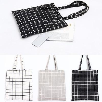 Zip Cotton Linen Shoulder Bag ECO Shopping Tote Check Plaid Black Grey White