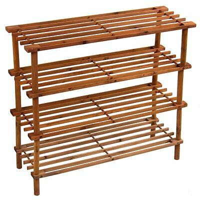 4 Tier Slated Shoe Rack Shelves Unit Walnut Stand Holder New By Home Discount