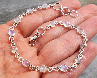 925 Silver RAINBOW MOONSTONE Bracelet B596~Silverwave*uk Jewellery