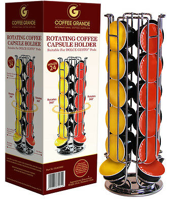 Revolving 24 Capsule Coffee Pod Holder Stand Rack Tower For Dolce Gusto 33992