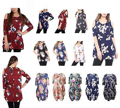 AS WOMENS LADIES LONG SLEEVE CUT OUT COLD SHOULDER BAGGY DRESS TUNIC SIZE 8-22
