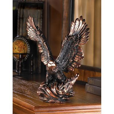 Majestic Eagle In Flight Bronze Finish Color Bird Statue Figurine Decor ~13820