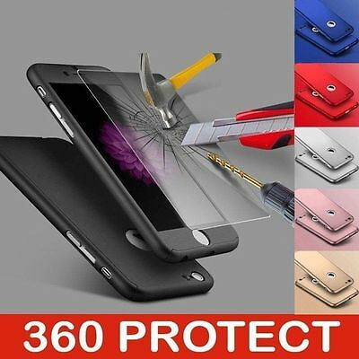360° Full Hybrid Acrylic Hard Case Cover+Tempered Glass For iPhone Models
