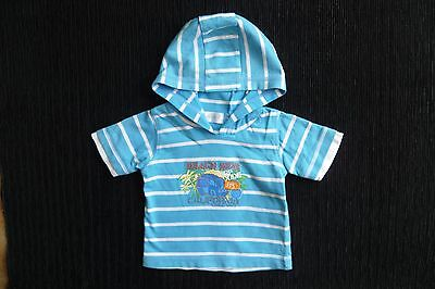 Baby clothes BOY 0-3m aqua/white stripe beach short sleeve hooded t-shirt C SHOP