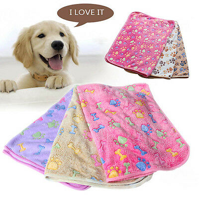 Waterproof Comfy Paw Print Pet Mat Cat Dog Fleece Non Slip