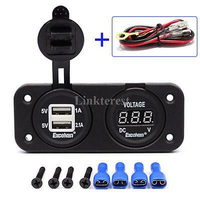 Dual USB 3.1 A Charger and Voltmeter Panel Mount 12V Motorcycle Outlet With Wire