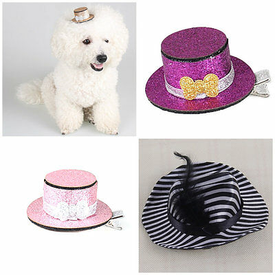Black White Stripes Pet Dog Cat Puppy Caps Hat Clips Pet Grooming Accessories