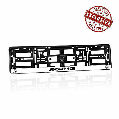 Mercedes AMG White Number Plate Holder Licence Plate Surround Frame ABS M1