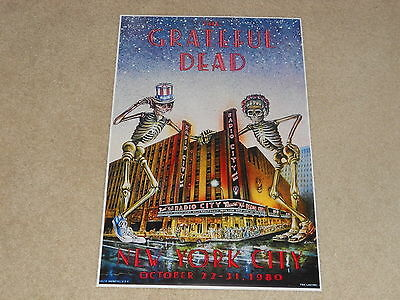 "Large Grateful Dead NYC 1980 Radio City Concert Poster, 19""x13"" RARE!"
