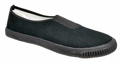 Boys Girls Kids Unisex Plimsolls / Black Canvas Slip On Shoes DEK