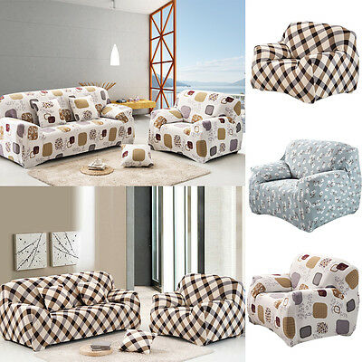 1 2 3 Seater Floral Modern Stretch Sofa Slipcover Protector Soft Couch Cover