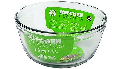 Kitchen Classics Glass 1.5L Mixing Bowl Kitchenware with Long Durability