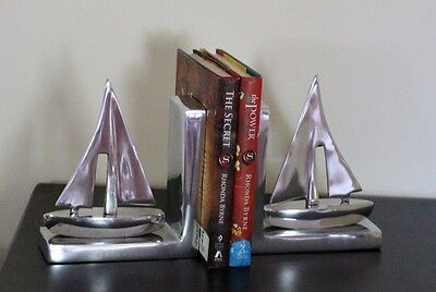 Large Luxury Silver Sail Boat Ship Nautical Motif 2 Bookends Ornament