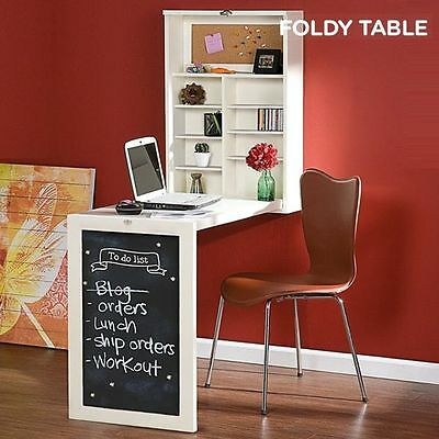 Foldy Table Foldable Wall Desk Computer Desktop With Blackboard Shelves Storage
