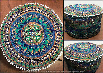 Large Bohemian Pouf Ottoman Mandala Footstool Round Indian pouf Cover Throw 24""