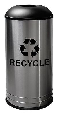 18 gal. Round Recycling Receptacle, Silver stainless steel TOUGH GUY 34AU88