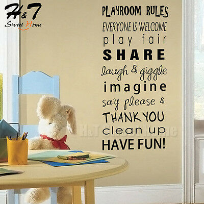 playroom rules motto quotes words letter vinyl wall sticker decal
