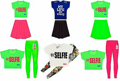 Girls Neon Dress Crop Top Kids Party Dresses New Age 7 8 9 10 11 12 13 Years